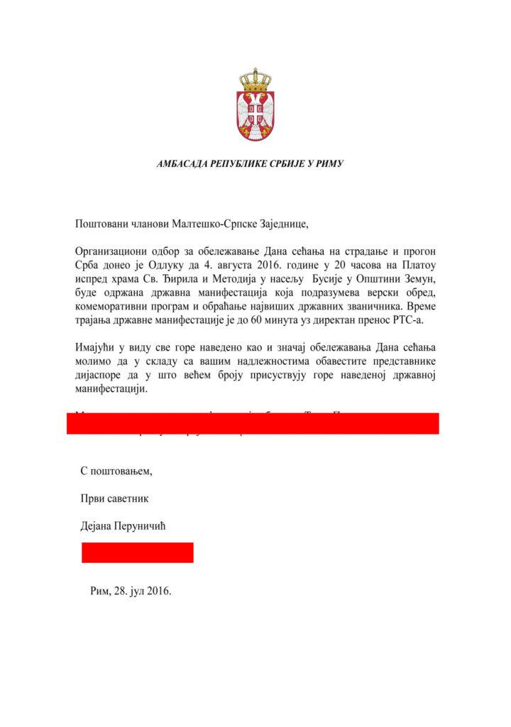 Pismo Maltesko-Srpska ambasada